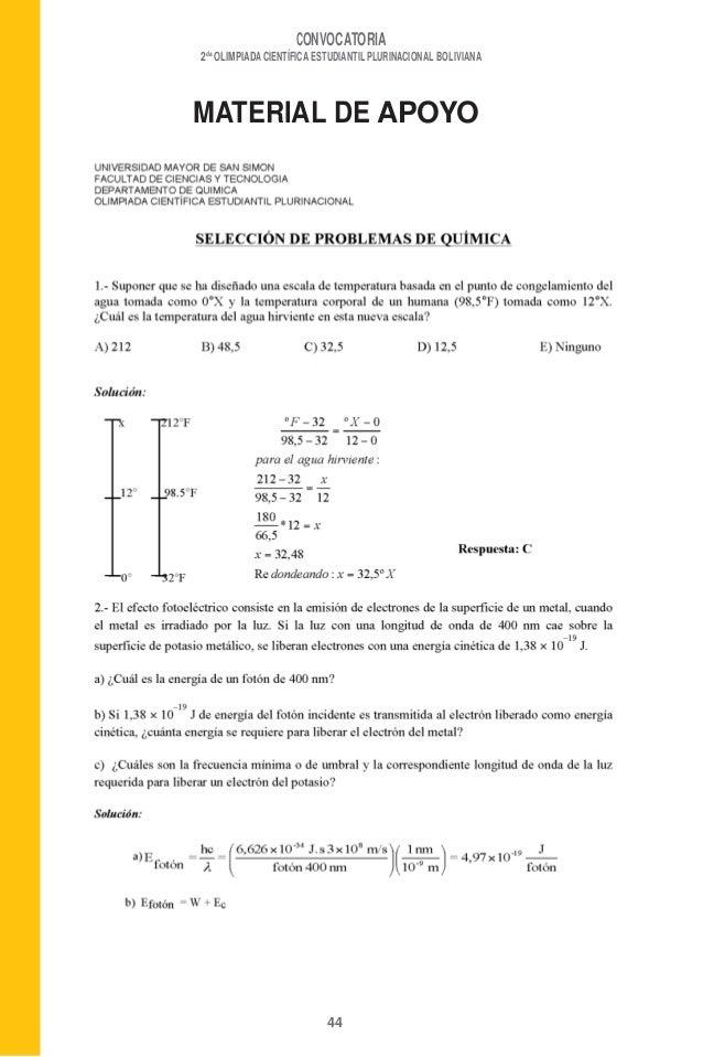 CONVOCATORIA2daOLIMPIADA CIENTÍFICA ESTUDIANTIL PLURINACIONAL BOLIVIANAMATERIAL DE APOYO44