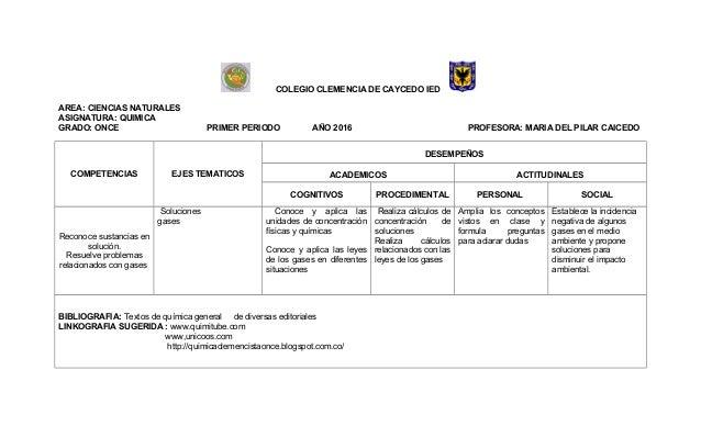 COLEGIO CLEMENCIA DE CAYCEDO IED AREA: CIENCIAS NATURALES ASIGNATURA: QUIMICA GRADO: ONCE PRIMER PERIODO AÑO 2016 PROFESOR...