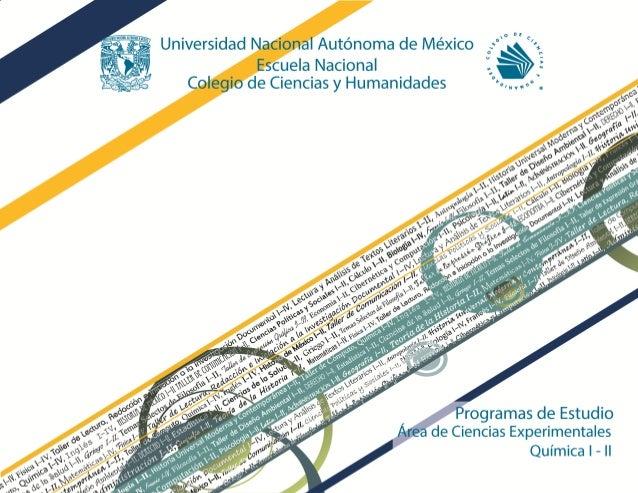 escuela nacional colegio de ciencias y humanidades programas de estudio rea de ciencias experimentales qumica i