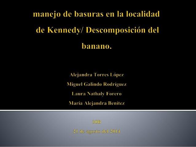  Introducción.   Marco teórico.   Basuras: (manejo, causas y consecuencias).   Descomposición de el banano.   Bibliog...