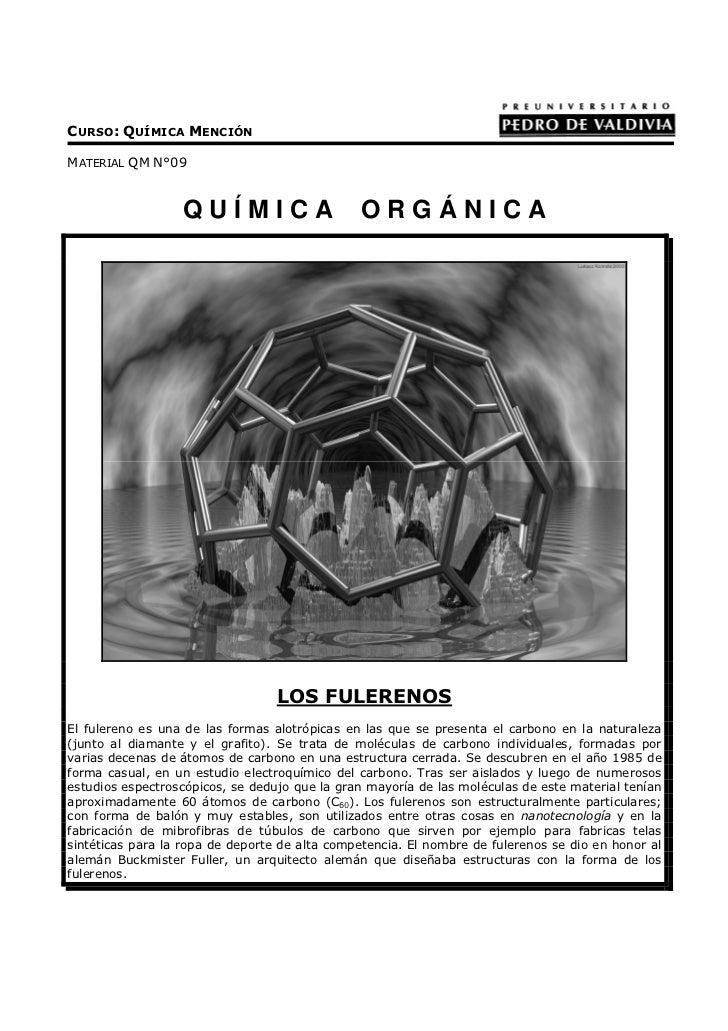 CURSO: QUÍMICA MENCIÓNMATERIAL QM N°09                  QUÍMICA                      ORGÁNICA                             ...