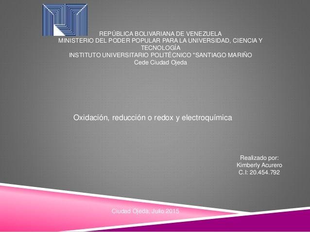 REPÚBLICA BOLIVARIANA DE VENEZUELA MINISTERIO DEL PODER POPULAR PARA LA UNIVERSIDAD, CIENCIA Y TECNOLOGÍA INSTITUTO UNIVER...