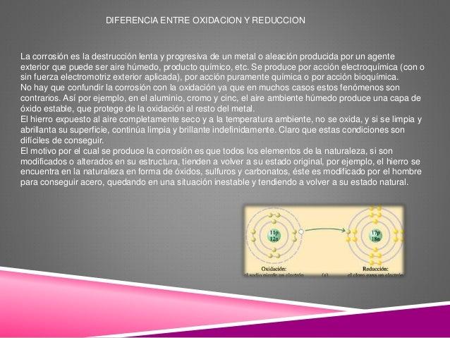 DIFERENCIA ENTRE OXIDACION Y REDUCCION La corrosión es la destrucción lenta y progresiva de un metal o aleación producida ...