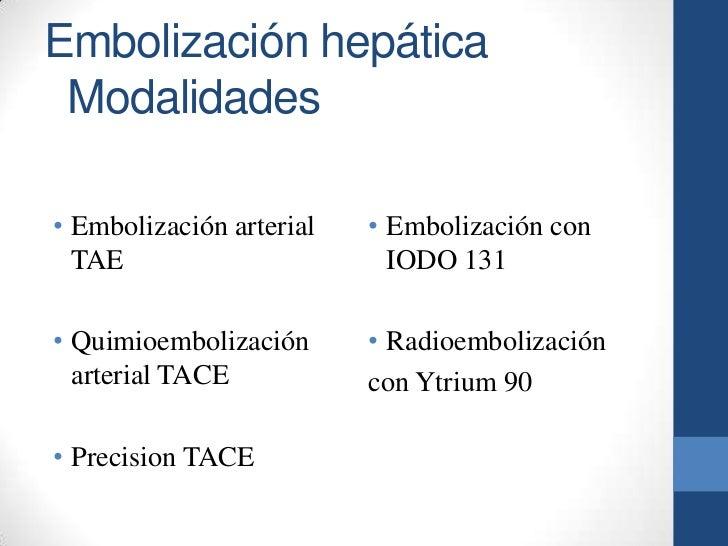 Embolización hepática Modalidades• Embolización arterial   • Embolización con  TAE                       IODO 131• Quimioe...