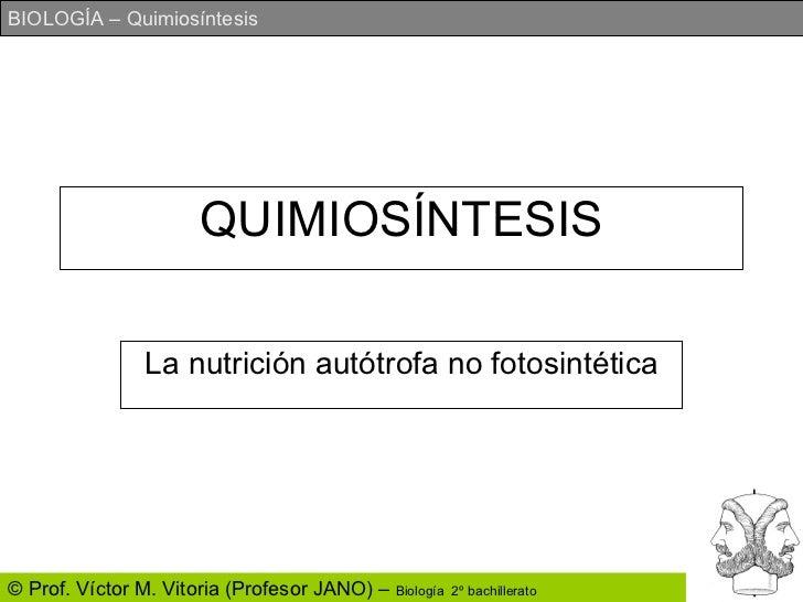 QUIMIOSÍNTESIS La nutrición autótrofa no fotosintética