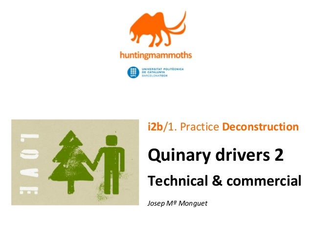 jm.monguet@upc.edu | http://huntingmammoths.com i2b/1. Practice Deconstruction Quinary drivers 2 Technical & commercial Jo...
