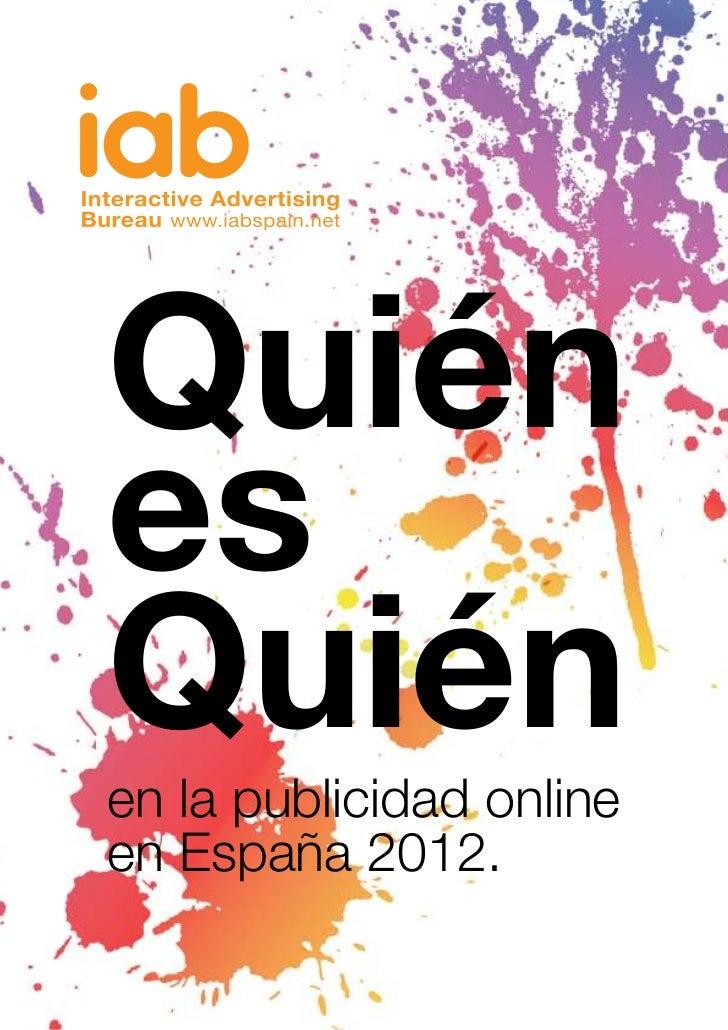 QuiénesQuiénen la publicidad onlineen España 2012.