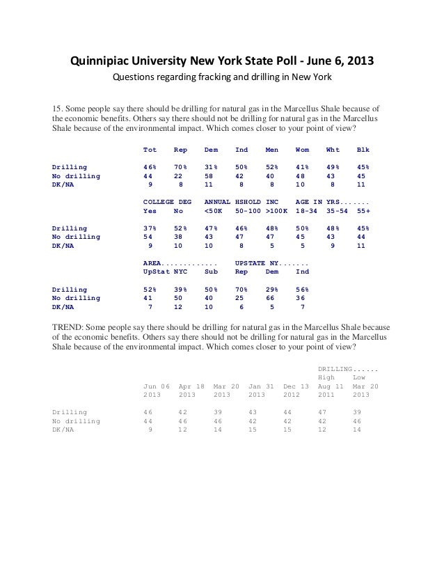 Quinnipiac University New York State Poll - June 6, 2013Questions regarding fracking and drilling in New York15. Some peop...