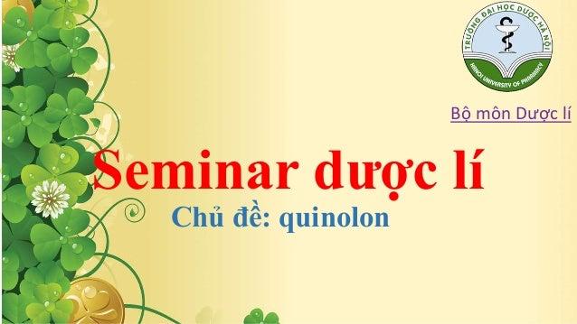 Seminar dược lí  Chủ đề: quinolon  Bộ môn Dược lí