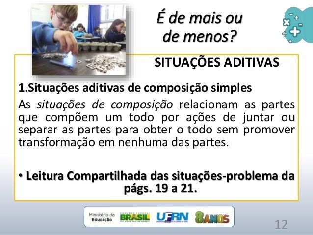 É de mais ou de menos? SITUAÇÕES ADITIVAS 1.Situações aditivas de composição simples As situações de composição relacionam...