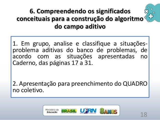 6. Compreendendo os significados conceituais para a construção do algoritmo do campo aditivo 1. Em grupo, analise e classi...