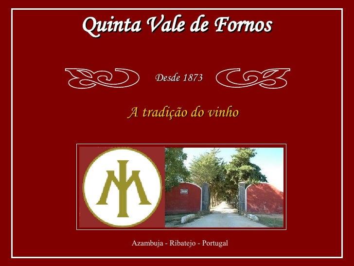 A tradição do vinho Quinta Vale de Fornos Desde 1873 c d Azambuja - Ribatejo - Portugal
