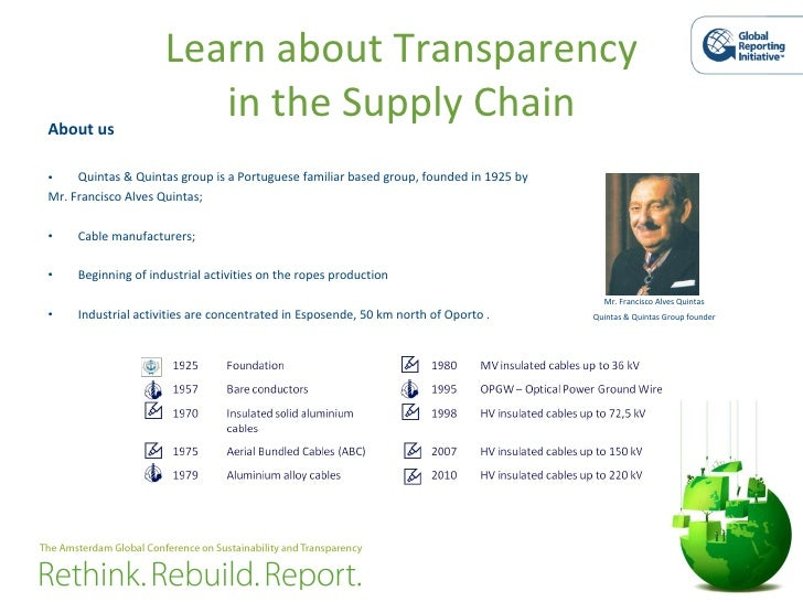 Learn about Transparency in the Supply Chain <ul><li>About us  </li></ul><ul><li>Quintas & Quintas group is a Portuguese f...
