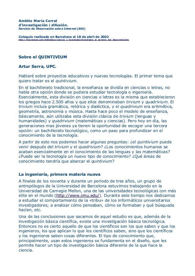 Ambito Maria Corral d'investigación i difusión. Servicio de Observación sobre Internet (SOI) Coloquio realizado en Barcelo...