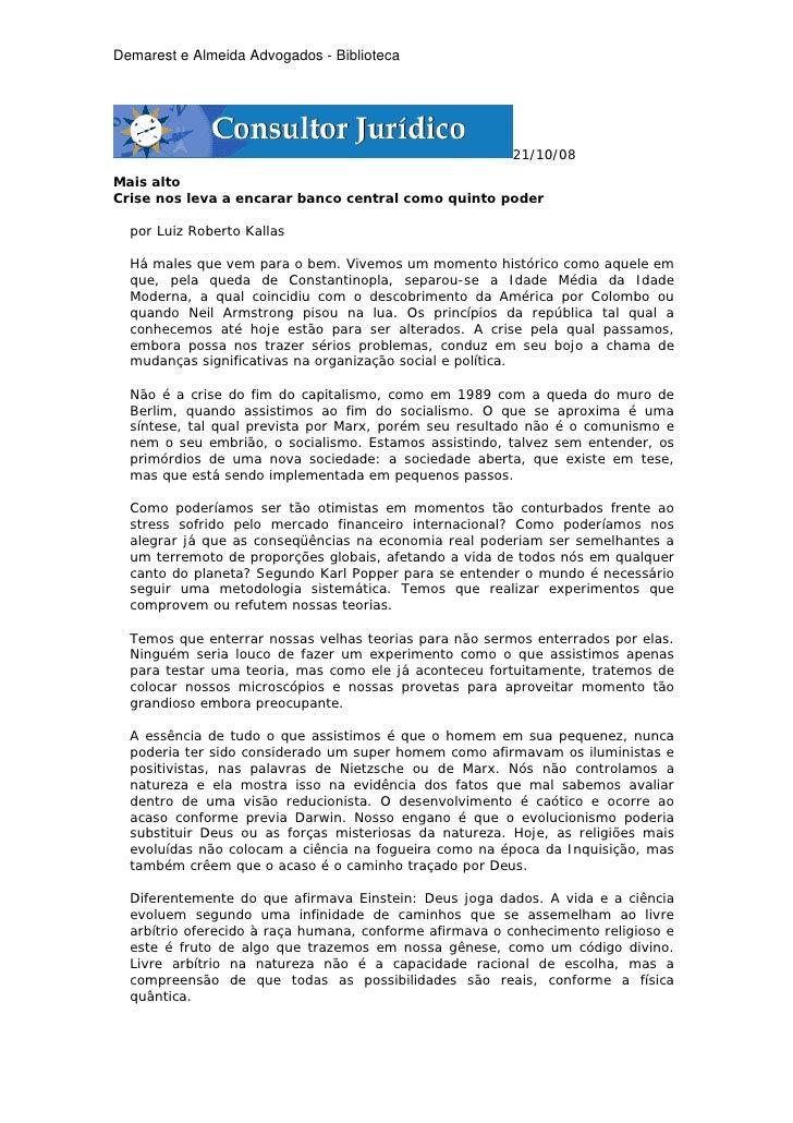Demarest e Almeida Advogados - Biblioteca                                                        21/10/08Mais altoCrise no...