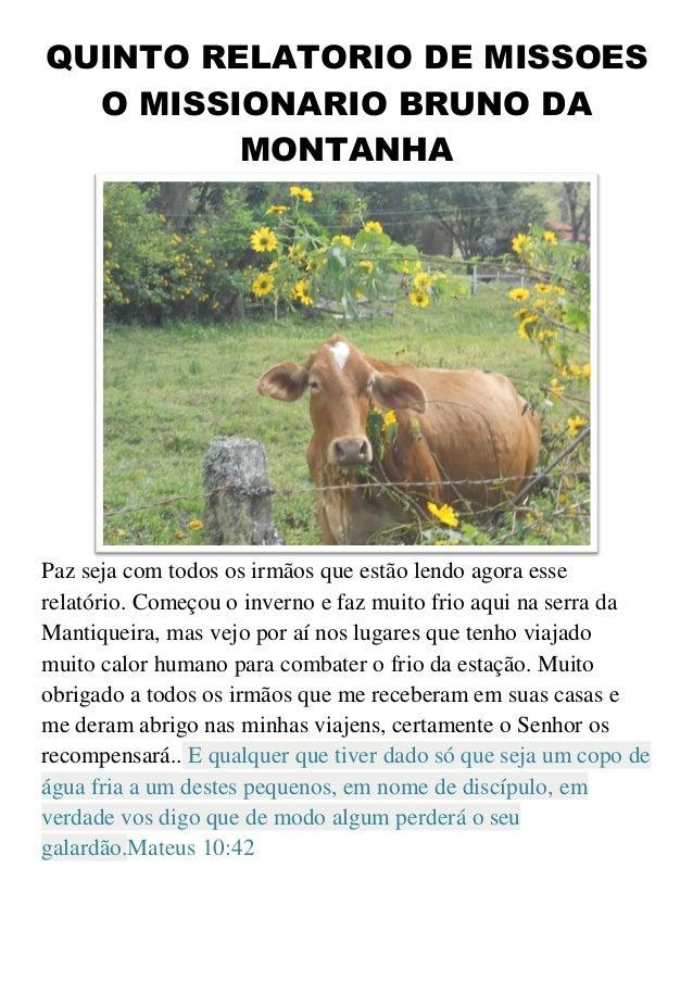QUINTO RELATORIO DE MISSOESO MISSIONARIO BRUNO DAMONTANHAPaz seja com todos os irmãos que estão lendo agora esserelatório....
