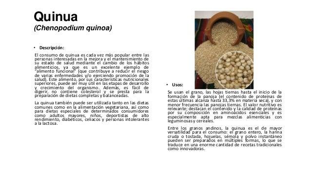 Quinua(Chenopodium quinoa)• Descripción:El consumo de quinua es cada vez más popular entre laspersonas interesadas en la m...