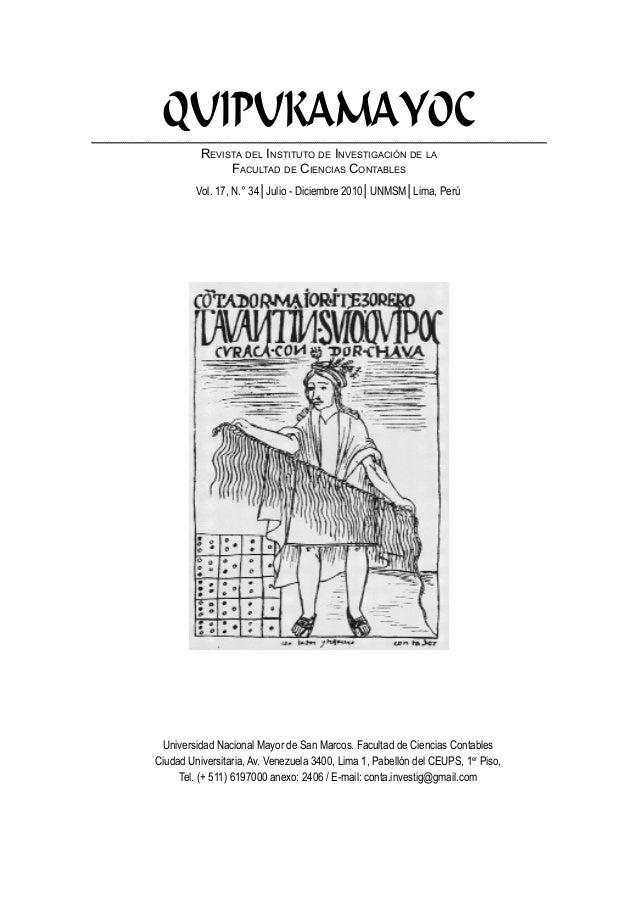 QUIPUKAMAYOC          Revista del Instituto de Investigación de la               Facultad de Ciencias Contables         Vo...
