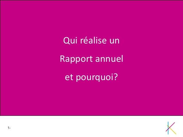 1- Adapter la rédaction aux différents supports !!! Qui réalise un Rapport annuel et pourquoi?