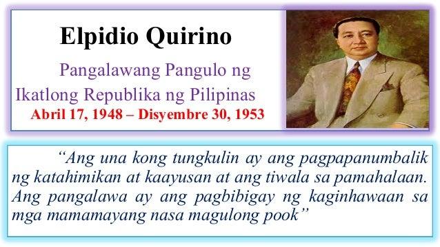 Dating pangulong elpidio quirino bilang