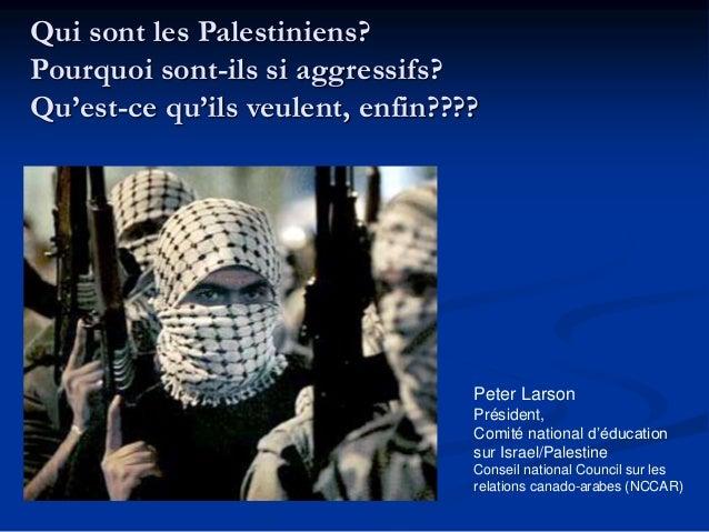 Qui sont les Palestiniens?  Pourquoi sont-ils si aggressifs?  Qu'est-ce qu'ils veulent, enfin????  Peter Larson  Président...