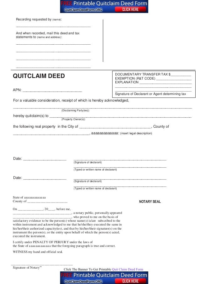 Quit Claim Deed Pdf. California Interspousal Grant Deeds Center