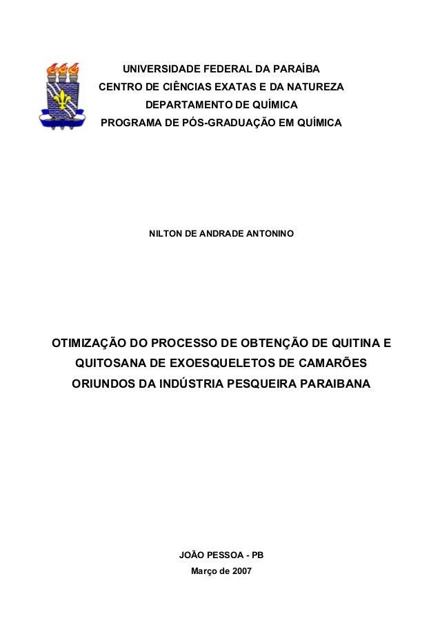 UNIVERSIDADE FEDERAL DA PARAÍBA CENTRO DE CIÊNCIAS EXATAS E DA NATUREZA DEPARTAMENTO DE QUÍMICA PROGRAMA DE PÓS-GRADUAÇÃO ...