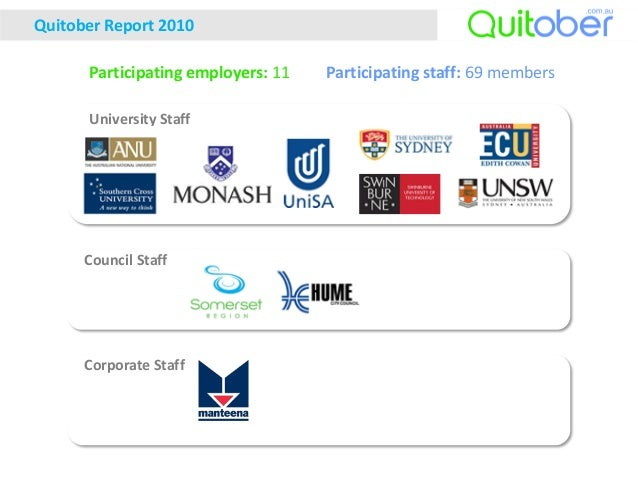 University Staff Council Staff Corporate Staff Quitober Report 2010 Participating staff: 69 membersParticipating employers...