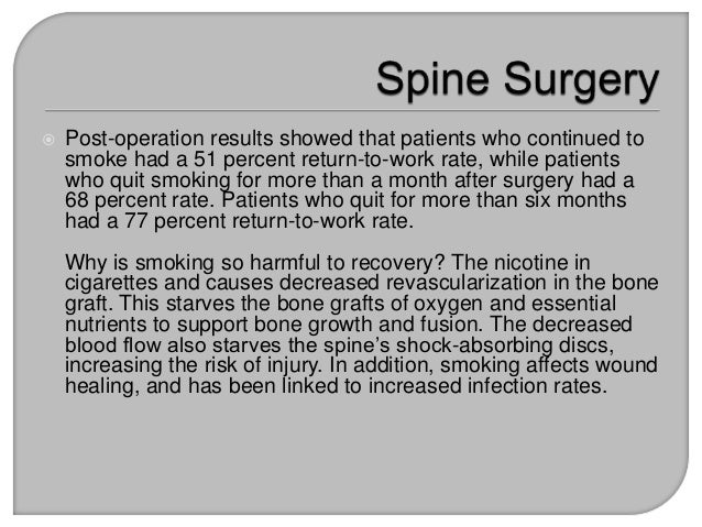 Quit Smoking to Recover and End Back Pain after Spine Surgery
