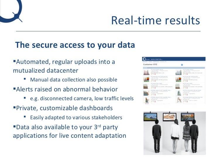 Real-time results <ul><li>The secure access to your data </li></ul><ul><li>Automated, regular uploads into a mutualized da...