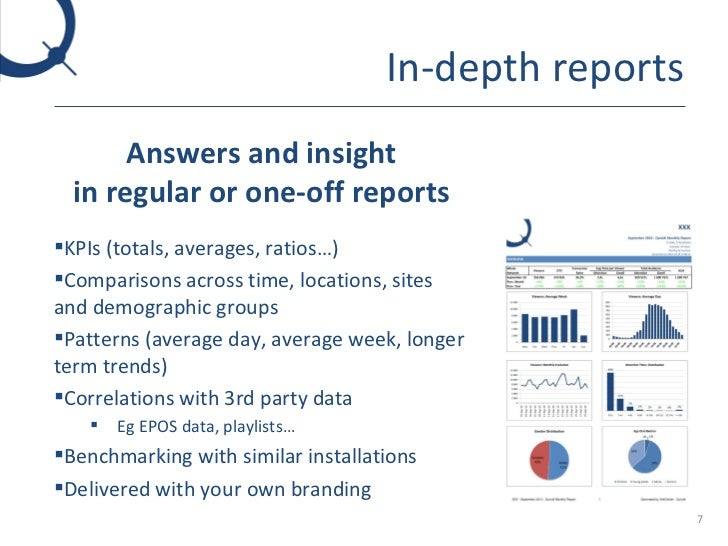 In-depth reports <ul><li>Answers and insight in regular or one-off reports </li></ul><ul><li>KPIs (totals, averages, ratio...