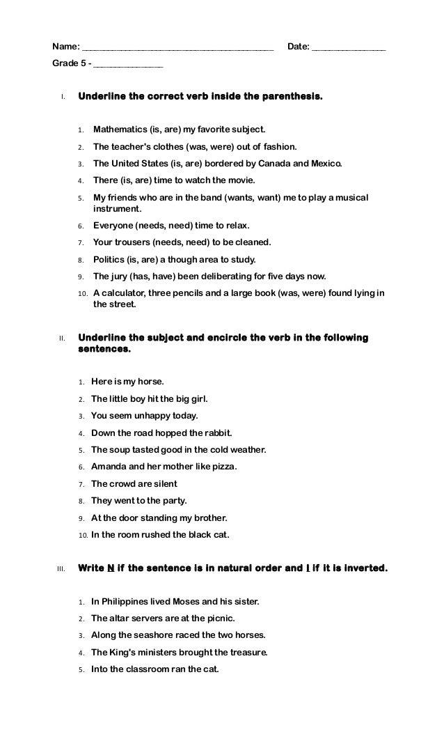 Quiz grade 5 subject verb agreement platinumwayz