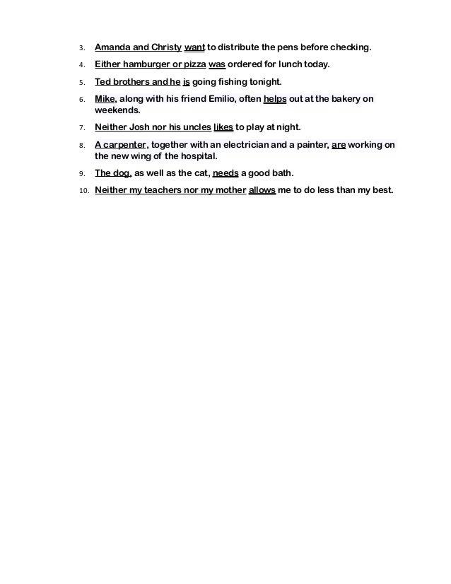 Quiz Grade 6 Subject Verb Agreement