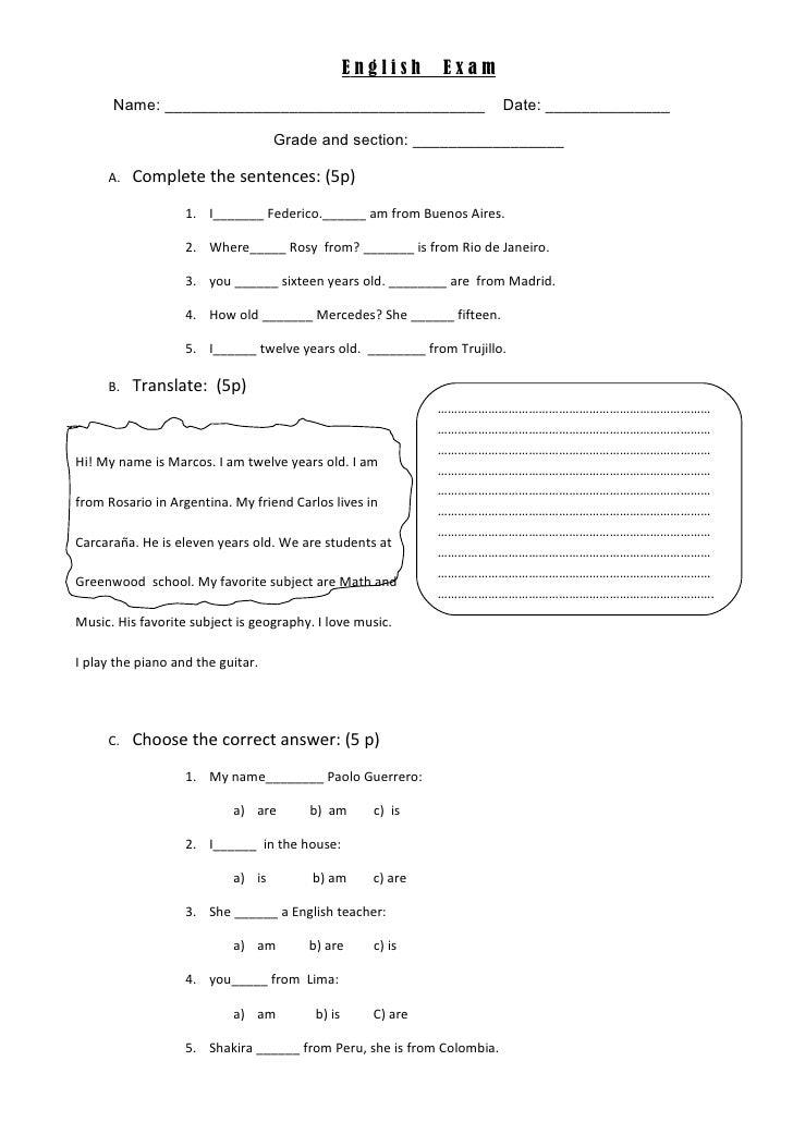 English    Exam      Name: ____________________________________                        Date: ______________               ...
