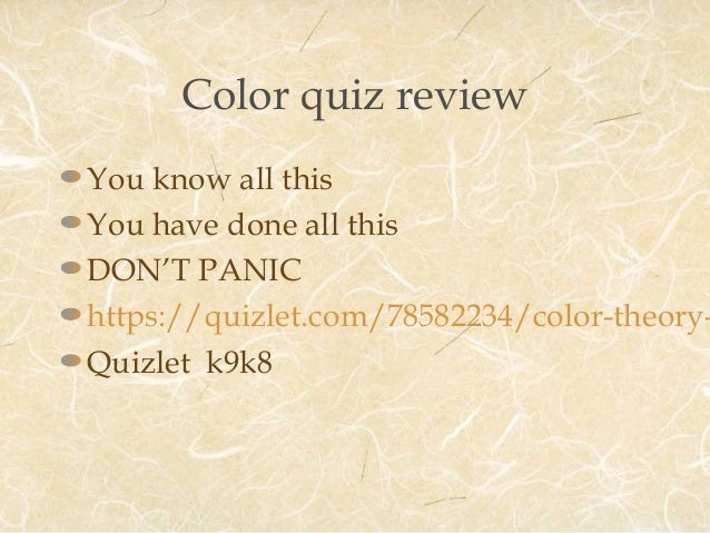 Quiz For Color Theory