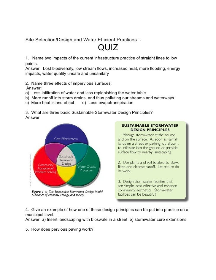 Site Selection/Design and Water Efficient Practices -                                      QUIZ1. Name two impacts of the ...