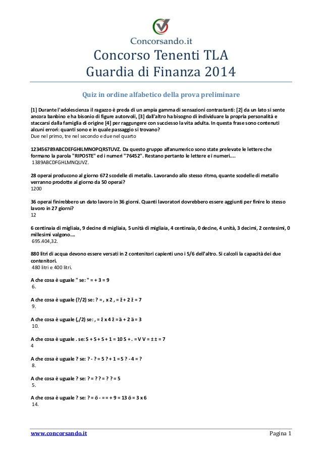 Quiz Concorso Tenenti Tla Guardia Di Finanza 2014