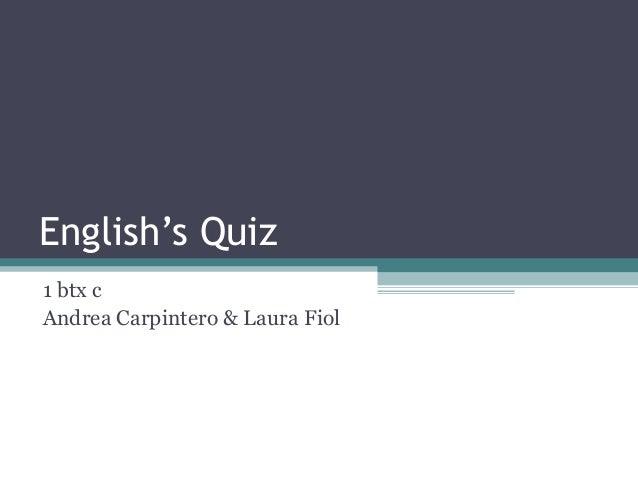 English's Quiz1 btx cAndrea Carpintero & Laura Fiol
