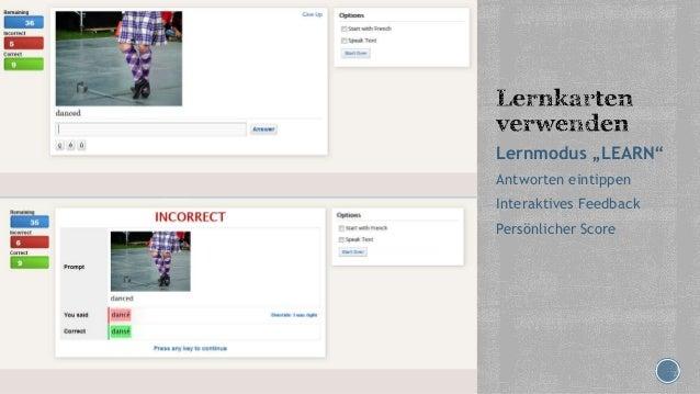 """Lernmodus """"LEARN"""" Antworten eintippen Interaktives Feedback Persönlicher Score"""