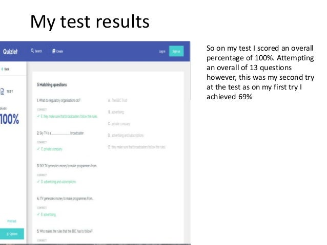 Quizlet results