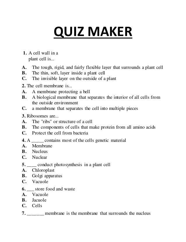 Quiz maker - plant and animal cell