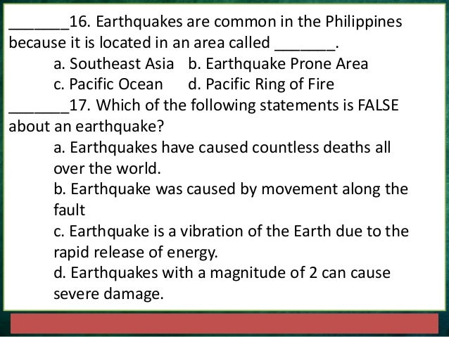 Earthquakes And Faults Quiz