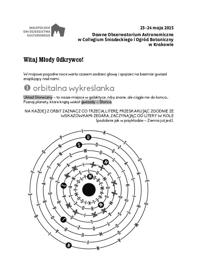23–24 maja 2015 Dawne Obserwatorium Astronomiczne w Collegium Śniadeckiego i Ogród Botaniczny w Krakowie Witaj Młody Odkry...