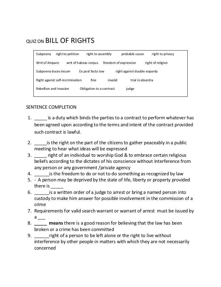 Quiz on bill of rights – Bill of Rights Worksheets