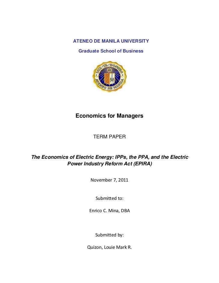 ATENEO DE MANILA UNIVERSITY                   Graduate School of Business                  Economics for Managers         ...