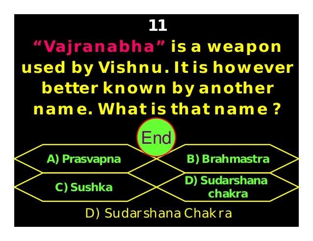 In the Mahabharata, who was the teacher of Karna ? 12 C) Parusharama D) Duryodhana A) Drupada B) Bhishma C) Parusharama 30...