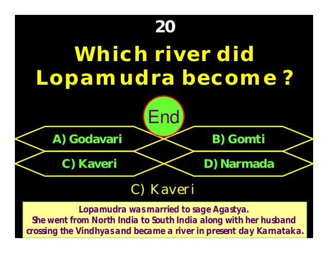 Which of place did Lord Krishna marry Rukmini ? 21 C) Brindavan D) Pandharpur A) Mathura B) Dwaraka A) Mathura 30292827262...