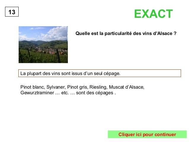 EXACT  Quelle est la particularité des vins d'Alsace ?  La plupart des vins sont issus d'un seul cépage.  13  Pinot blanc,...