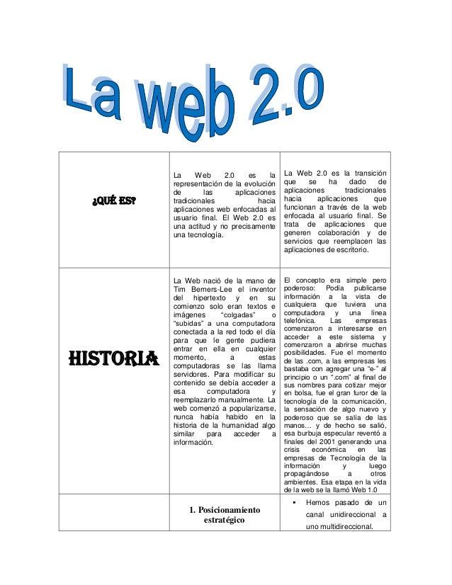 ¿Qué ES? La Web 2.0 es la representación de la evolución de las aplicaciones tradicionales hacia aplicaciones web enfocada...
