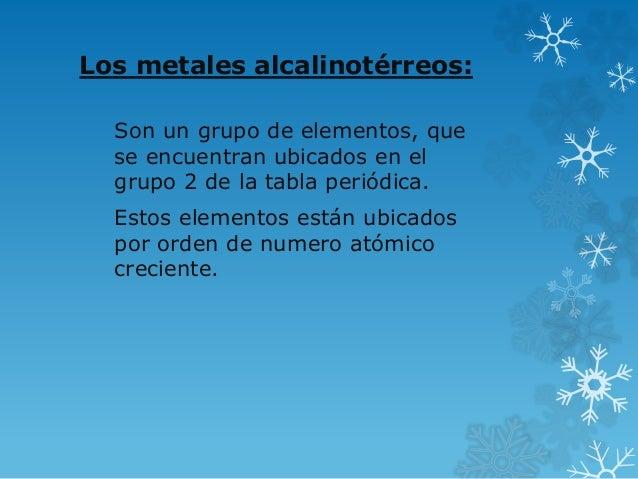 Los metales alcalinotérreos:  Son un grupo de elementos, que  se encuentran ubicados en el  grupo 2 de la tabla periódica....